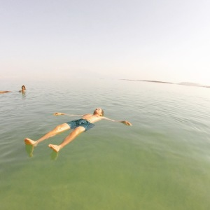 Floating in the dead sea, one of the tourist highlights of a week in Israel